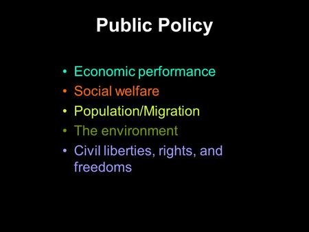 Public Policy Economic performance Social welfare Population/Migration The environment Civil liberties, rights, and freedoms.