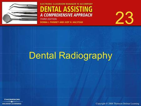 23 Dental Radiography. 2 Extraoral Radiographs Panoramic –Common in general and specialty offices Cephalometric –Common with orthodontists Digital –Becoming.