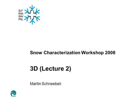 Snow Characterization Workshop 2008