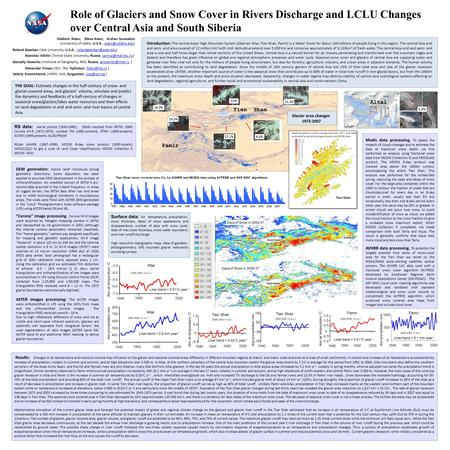 Role of Glaciers and Snow Cover in Rivers Discharge and LCLU Changes over Central Asia and South Siberia Vladimir Aizen, Elena Aizen, Arzhan Surazakov.