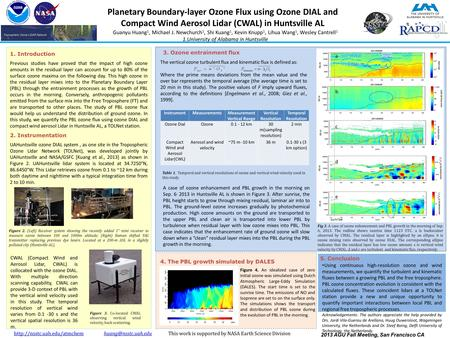 Planetary Boundary-layer Ozone Flux using Ozone DIAL and Compact Wind Aerosol Lidar (CWAL) in Huntsville AL Guanyu Huang 1, Michael J. Newchurch 1, Shi.
