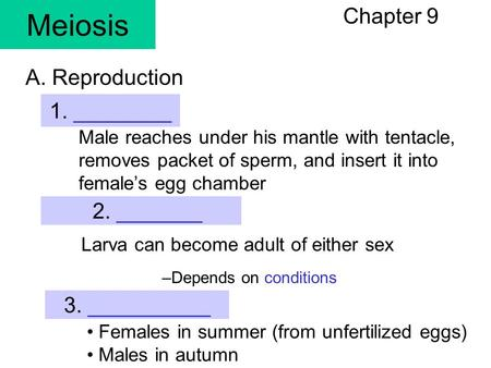 Meiosis Chapter 9 1. ________ Male reaches under his mantle with tentacle, removes packet of sperm, and insert it into female's egg chamber A. Reproduction.