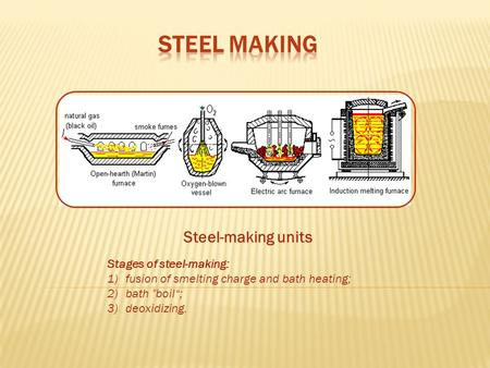 "Steel-making units Stages of steel-making: 1)fusion of smelting charge and bath heating; 2)bath boil""; 3)deoxidizing."