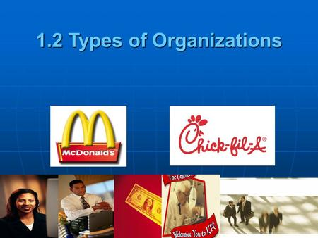 1.2 Types of Organizations. Content Types of Organizations Profit, non-profit and non-governmental Profit, non-profit and non-governmental Sole Trader/Proprietors.