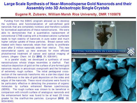 Large Scale Synthesis of Near-Monodisperse Gold Nanorods and their Assembly into 3D Anisotropic Single Crystals Eugene R. Zubarev, William Marsh Rice University,
