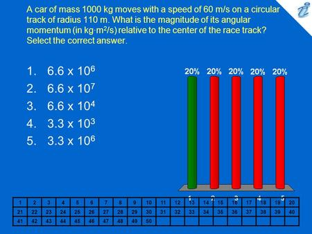 A car of mass 1000 kg moves with a speed of 60 m/s on a circular track of radius 110 m. What is the magnitude of its angular momentum (in kg·m 2 /s) relative.