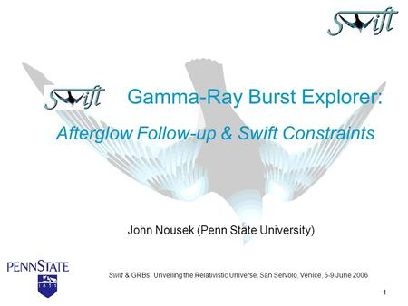 1 John Nousek (Penn State University) Gamma-Ray Burst Explorer: Afterglow Follow-up & Swift Constraints Swift & GRBs: Unveiling the Relativistic Universe,