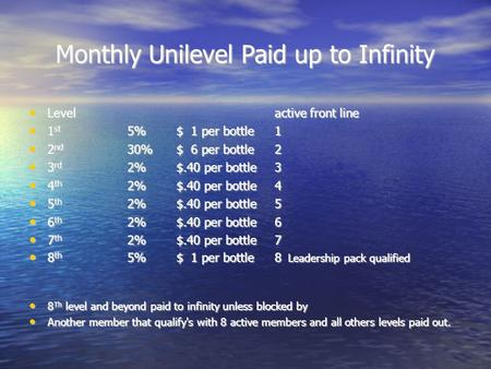 Monthly Unilevel Paid up to Infinity Levelactive front line Levelactive front line 1 st 5%$ 1 per bottle1 1 st 5%$ 1 per bottle1 2 nd 30% $ 6 per bottle2.