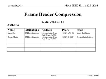Doc.: IEEE 802.11-12/0110r8 SubmissionLiwen Chu Etc.Slide 1 Frame Header Compression Date: 2012-05-14 Authors: Date: May, 2012.