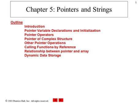  2003 Prentice Hall, Inc. All rights reserved. 1 Chapter 5: Pointers and Strings Outline Introduction Pointer Variable Declarations and Initialization.