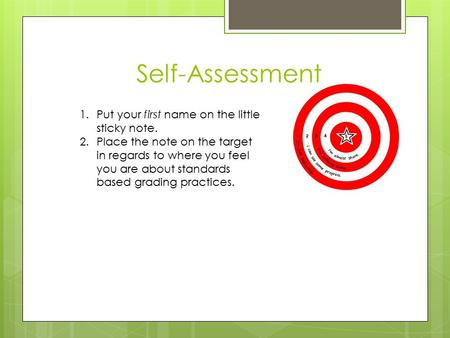 Self-Assessment 1.Put your first name on the little sticky note. 2.Place the note on the target in regards to where you feel you are about standards based.