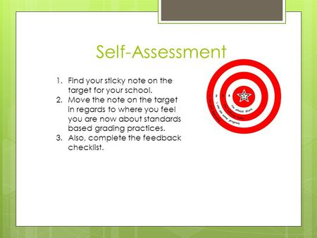 Self-Assessment 1.Find your sticky note on the target for your school. 2.Move the note on the target in regards to where you feel you are now about standards.