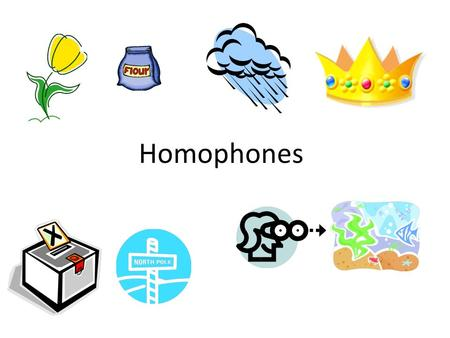 Homophones. Words that sound alike but have different spellings and different meanings are called homophones. Look at homophones in context to help understand.