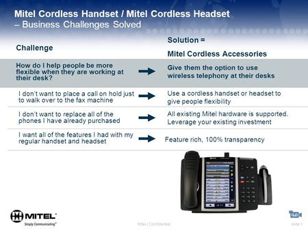 Slide 1Mitel | Confidential Mitel Cordless Handset / Mitel Cordless Headset – Business Challenges Solved Challenge Solution = Mitel Cordless Accessories.