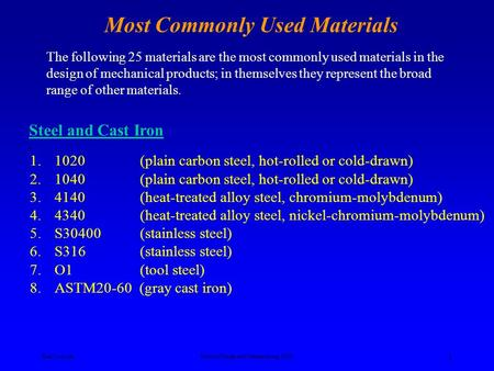 Ken YoussefiProduct Design and Manufacturing, SJSU 1 Most Commonly Used Materials The following 25 materials are the most commonly used materials in the.