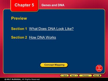 Preview Section 1 What Does DNA Look Like? Section 2 How DNA Works