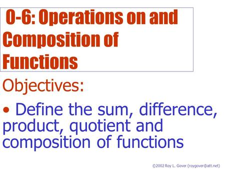 0-6: Operations on and Composition of Functions