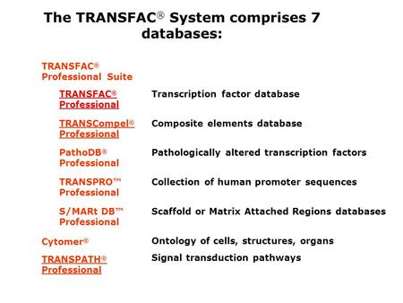 The TRANSFAC ® System comprises 7 databases: TRANSFAC ® Professional Suite TRANSFAC ® Professional Transcription factor database TRANSCompel ® Professional.