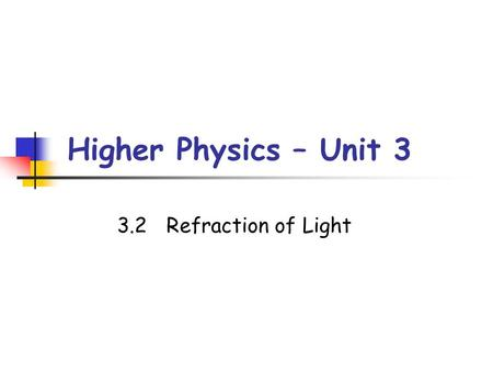 Higher Physics – Unit 3 3.2	Refraction of Light.