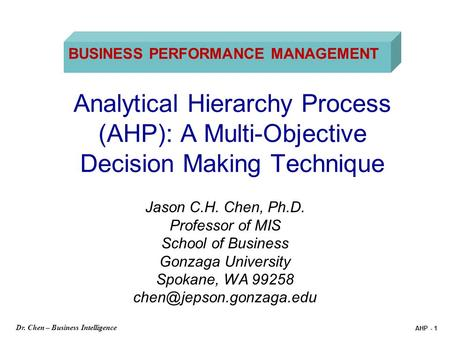 BUSINESS PERFORMANCE MANAGEMENT
