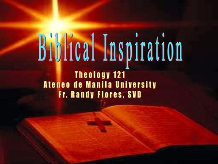 "A. Biblical Inspiration Read: Eugene Maly, ""Purpose of the Bible"", introductory article of the New American Bible."