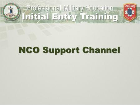 NCO Support Channel Professional Military Education Initial Entry Training.