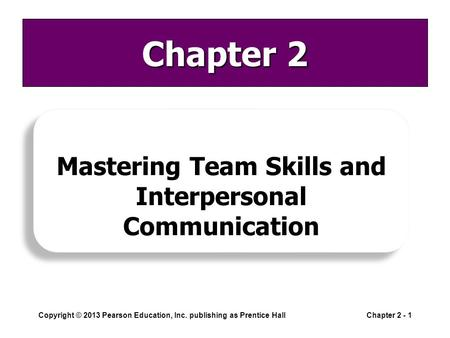 Copyright © 2013 Pearson Education, Inc. publishing as Prentice HallChapter 2 - 1 Chapter 2 Mastering Team Skills and Interpersonal Communication.