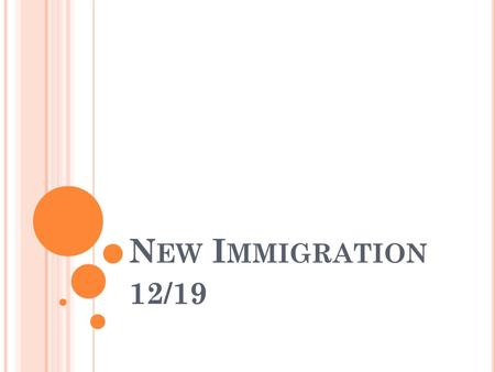 N EW I MMIGRATION 12/19. O LD I MMIGRANTS Old immigrants were people immigrating from Western and Northern Europe (Great Britain, Ireland, Germany) Why.