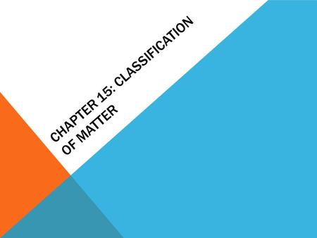 CHAPTER 15: CLASSIFICATION OF MATTER. COMPOSITION OF MATTER Matter can exist as: Substance: Type of matter with a fixed composition; can be element or.