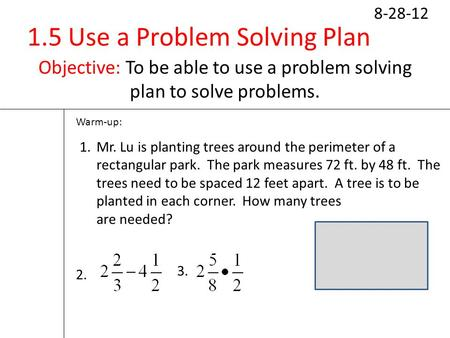 Solving Area Problems