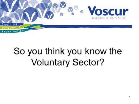 1 So you think you know the Voluntary Sector?. 2.
