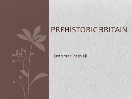 Ottomar Paeväli PREHISTORIC BRITAIN. The Iberians The Iberians are the oldest historically known inhabitants of the Iberian Peninsula. About 3000 BC many.