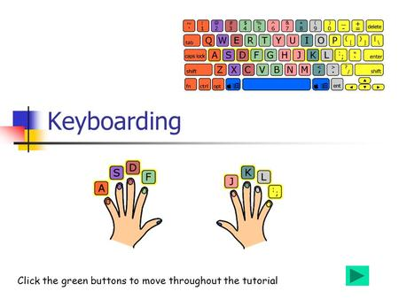 Keyboarding Click the green buttons to move throughout the tutorial.