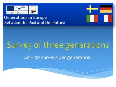 40 – 50 surveys per generation. 1. We ate more healthly when we were young.