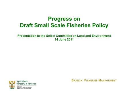 Progress on Draft Small Scale Fisheries Policy Presentation to the Select Committee on Land and Environment 14 June 2011 B RANCH : F ISHERIES M ANAGEMENT.