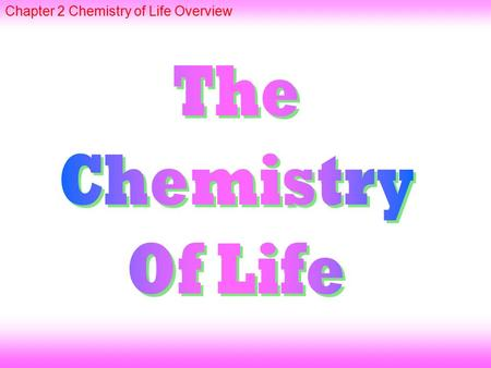 Chapter 2 Chemistry of Life Overview. combine through CHEMICAL BONDS ATOMS such as IONIC and COVALENT forming COMPOUNDS without CARBON are INORGANIC with.