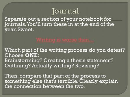 Separate out a section of your notebook for journals. You'll turn these in at the end of the year. Sweet. Writing is worse than... Which part of the writing.