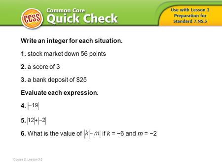Write an integer for each situation. 1. stock market down 56 points