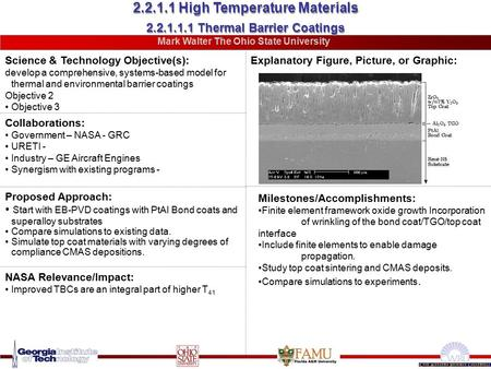 2.2.1.1.1 Thermal Barrier Coatings Science & Technology Objective(s): develop a comprehensive, systems-based model for thermal and environmental barrier.