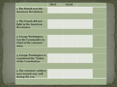 TRUE FALSE 1. The British won the American Revolution. 2. The French did not fight in the American Revolution. 3. George Washington was the Commander in.