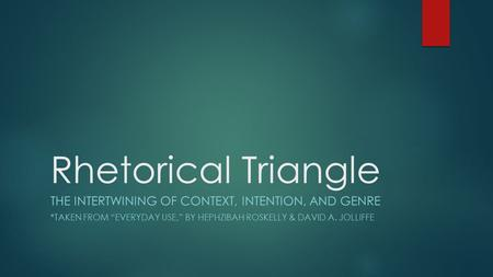 Rhetorical Triangle The intertwining of context, intention, and genre