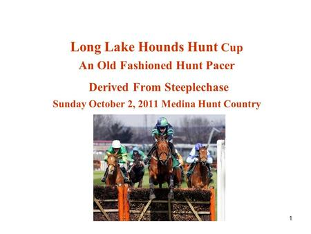 1 Long Lake Hounds Hunt Cup An Old Fashioned Hunt Pacer Derived From Steeplechase Sunday October 2, 2011 Medina Hunt Country.