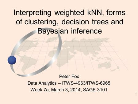 1 Peter Fox Data Analytics – ITWS-4963/ITWS-6965 Week 7a, March 3, 2014, SAGE 3101 Interpreting weighted kNN, forms of clustering, decision trees and Bayesian.
