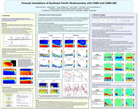 Forecast simulations of Southeast Pacific Stratocumulus with CAM3 and CAM3-UW. Cécile Hannay (1), Jeffrey Kiehl (1), Dave Williamson (1), Jerry Olson (1),