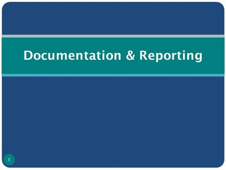 Documentation & Reporting 1. Introduction Documentation is required for 2 critical management functions: Tracking the epidemic ( i.e., to understand the.