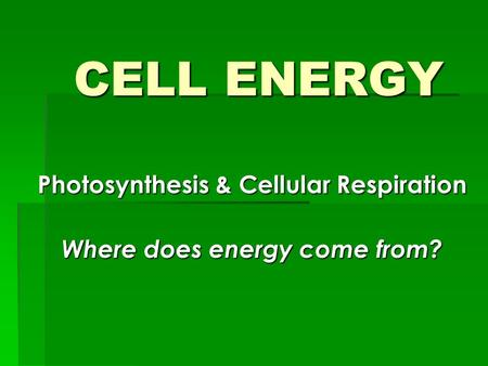 CELL ENERGY CELL ENERGY Photosynthesis & Cellular Respiration Where does energy come from?