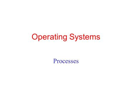 Operating Systems Processes 1.
