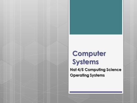 Computer Systems Nat 4/5 Computing Science Operating Systems.