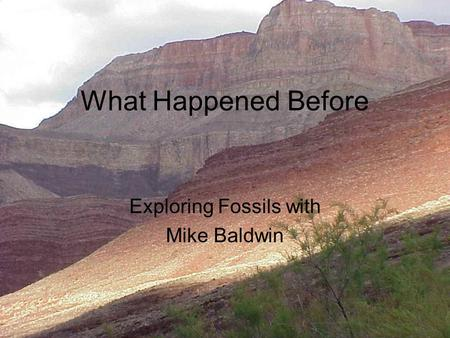 What Happened Before Exploring Fossils with Mike Baldwin.