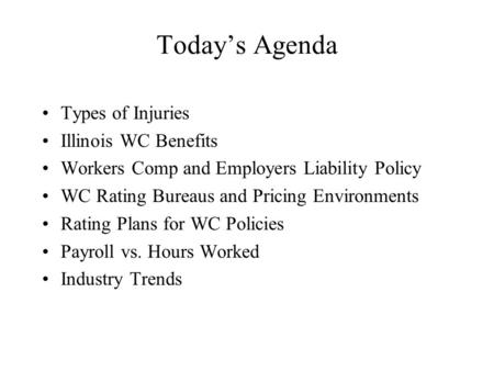 Today's Agenda Types of Injuries Illinois WC Benefits Workers Comp and Employers Liability Policy WC Rating Bureaus and Pricing Environments Rating Plans.